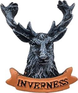 Fridge Magnet Deer Inverness England UK 3D Handmade Craft Tourist Travel City Souvenir Collection Letter Refrigerator Sticker