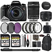 Canon Rebel T6s Camera + Canon EF-S 18-135mm f/3.5-5.6 IS STM Lens + Canon EF 50mm f 1.8 II Lens + 67mm Macro Filtr Kit (+1,+2,+4 & +10) - All Original Accessories Included - International Version