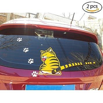 2 piezas Funny Cat movimiento cola pegatinas reflectantes para ventanillas de coche Limpiaparabrisas adhesivos UPC: Amazon.es: Coche y moto