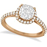 14k Gold Halo Design, Cushion Cut Diamond Engagement Ring with Side Stones in