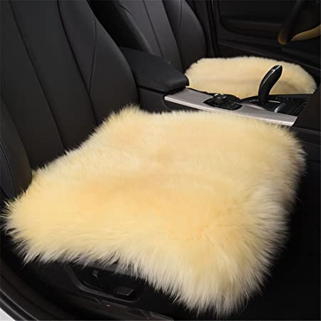 Fouriding 18quot Faux Fur Sheepskin Seat Covers Pad Car Cushion Super Soft Thick Wool