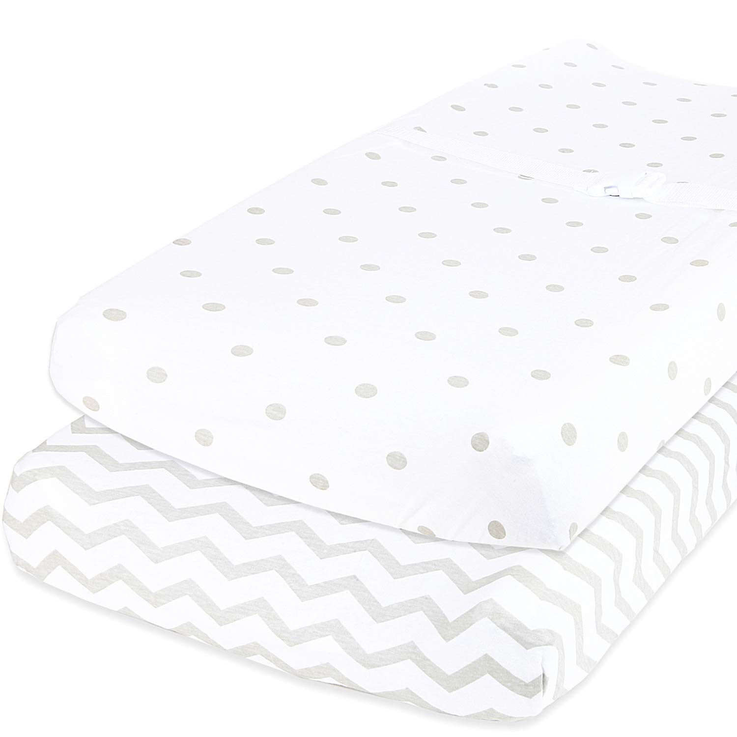 Cuddly Cubs Baby Changing Table Pad Cover Set for Boys & Girls | Soft & Breathable 100% Jersey Cotton | Adorable Unisex Patterns & Fitted Elastic Design | Cute Nursery & Cradle Bedding Sheets 2-Pack by Cuddly Cubs