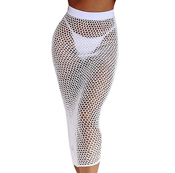 3a25a64fde0 Amazon.com  WM   MW Fashion Women Sexy Bodycon Hollow Out Knitting Fishnet  Skirt Bikin Beach Cover up Midi Skirt  Clothing