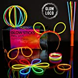 100 Glow Sticks Party Pack by Glow Loco - Premium UK Brand - Perfect for festivals, kid's parties, Clubbercise and raves - Make glow bracelets, necklaces, glasses, bunny ears, wands, triple bracelets, flowers, glow balls, and more!