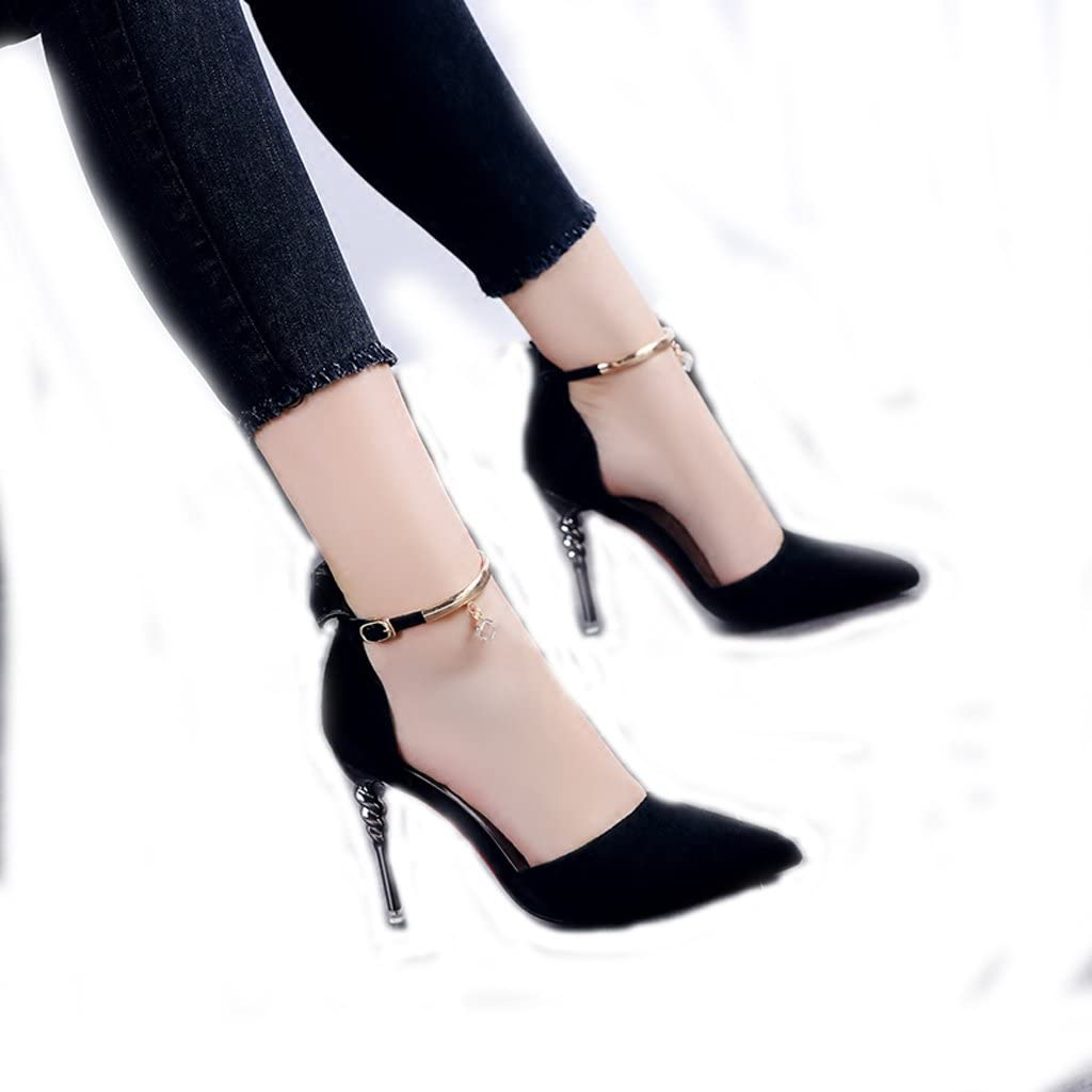 Hyun Times Summer Pointed High Heels Word Buckle Sandals Black Fine with Women Shoes