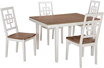 Signature Design By Ashley - Brovada Rectangular Dining Room Table Set -  Set of 5 - Contemporary Style - Two-tone