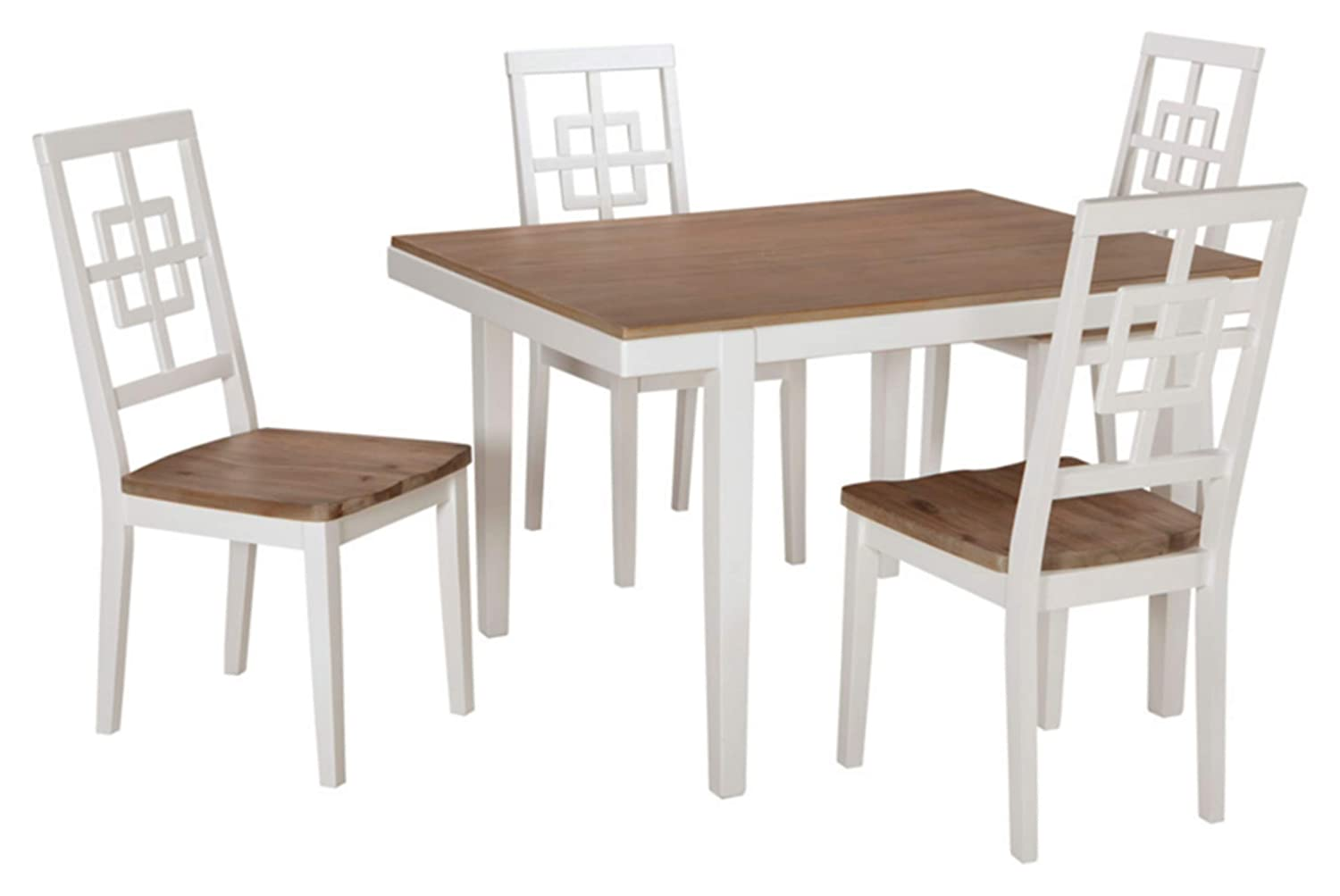 CDM product Signature Design by Ashley Furniture-Brovada Rectangular 5-Piece Dining Room Set-Includes Table & 4 Chairs-Two-Tone Finish big image