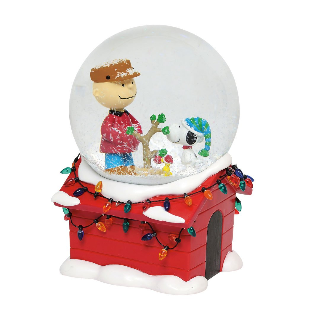 Department 56 Peanuts Christmas Musical Globe Waterball, 7'' Snowglobe, Multicolor