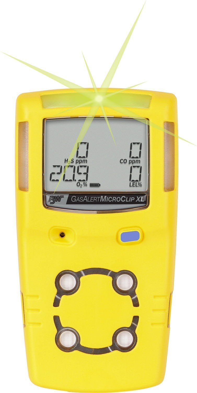 BW Technologies MCXL-XWHM-Y-NA GasAlertMicroClip XL 4 Gas Detector, CO, H2S, LEL and O2, Yellow by BW Technologies