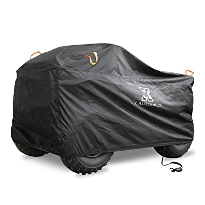 X AUTOHAUX Waterproof All Weather Quad ATV Cover 4 Wheelers Cover with Straps Reflective Universal Fit Black with Silver Coating Inside XL Size (86.3 x 47.2 x 45.3 Inch): Automotive