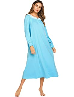 Ekouaer Womens Casual Loungewear V-Neck Lace Sleepwear Full Length Nightgown  S-XXL 822a40feb