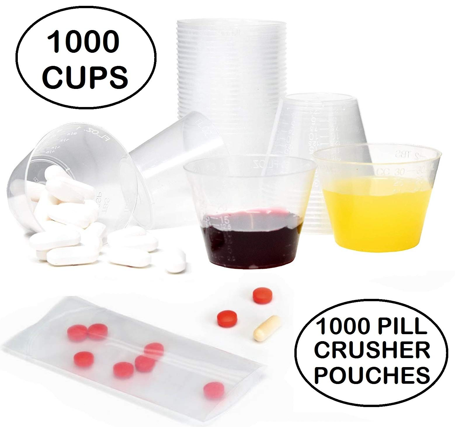1000 Disposable 1oz Plastic Medicine Cups and 1000 Disposable Pill Crusher Pouches Combined in a Handy Pack for Easy, Clean, Effective Medicine Consumption. by MediCups