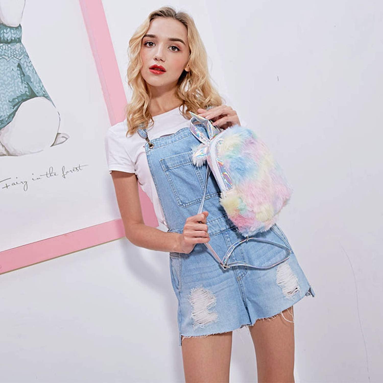 Fashion Cute Unicorn Women Backpacks Cartoon Kawaii Backpacks Leather Hologram Women School Bags,Large pink