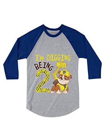 Paw Patrol Rubble Digging 2nd Birthday 3 4 Sleeve Baseball Jersey Toddler Shirt 2T Blue