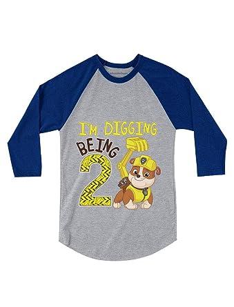 Amazon Paw Patrol Rubble Digging 2nd Birthday 3 4 Sleeve Baseball Jersey Toddler Shirt Clothing