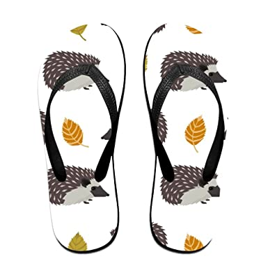 Couple Flip Flops Repeat Hedgehog Print Chic Sandals Slipper Rubber Non-Slip Beach Thong Slippers