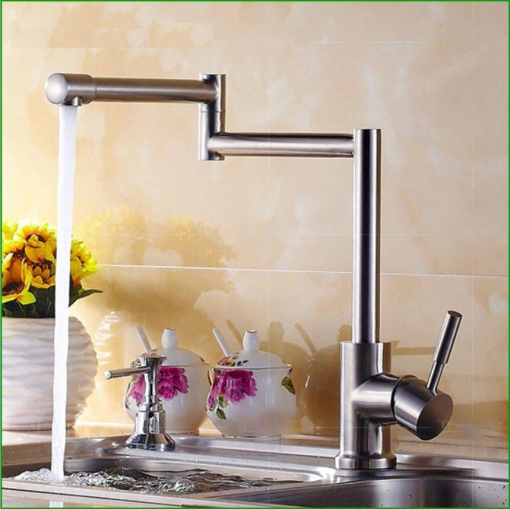 Continental Familienküche Edelstahl Brushed Waschbecken Waschtisch Pool Drehbar Klappgriff EinzellocHöheiß und kalt Dual-Verwendung Single-Link-Waschbecken Wasserspray Wasserhahn