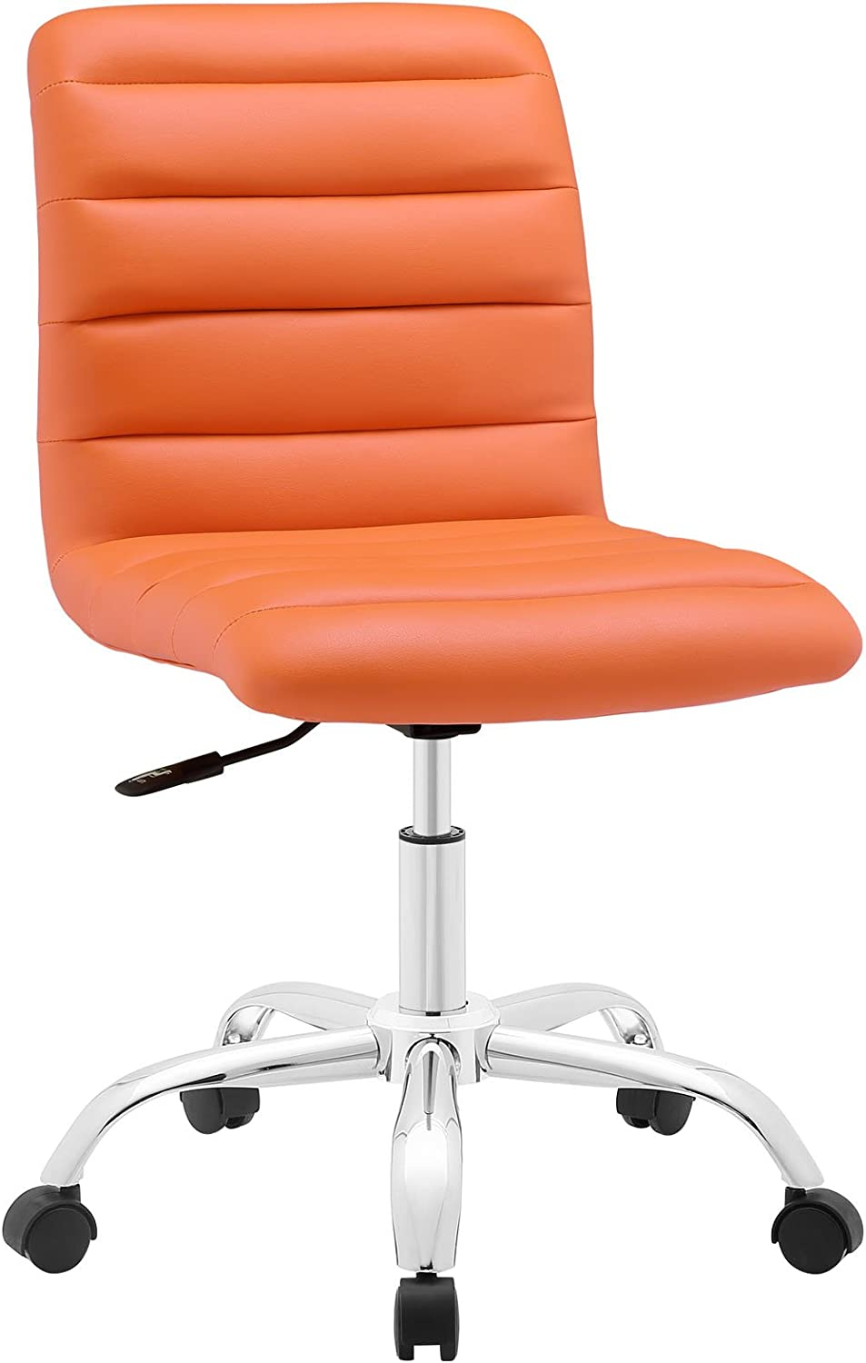 Modway Ripple Ribbed Armless Mid Back Swivel Computer Desk Office Chair In Orange