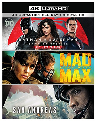 4K Blu-ray : Batman v Superman: Dawn of Justice Ultimate Edition / Mad Max: Fury RoadSan Andreas (4K Mastering, Ultraviolet Digital Copy, 3 Pack, Slipsleeve Packaging, 3 Disc)