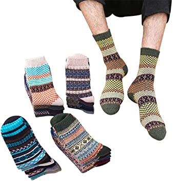 BXCKBS 5 Pares Hombre Calcetines Vintage Totem a Rayas ...