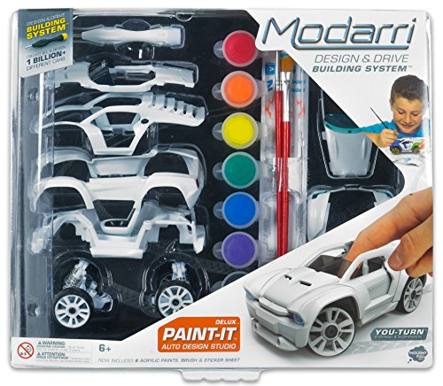 Modarri Delux Paint It Auto Design Studio | Paint and Build Your own Toy Car | Creative STEM and Art Craft Kit | Includes Paints and Brushes | Make Model Cars | Girls and Boys Gifts Age 5-10 (Best Car To Build For Racing)