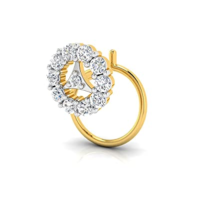 45bae1b3a867a Pristine Fire Yellow Gold and Diamond Nose Pin for Women