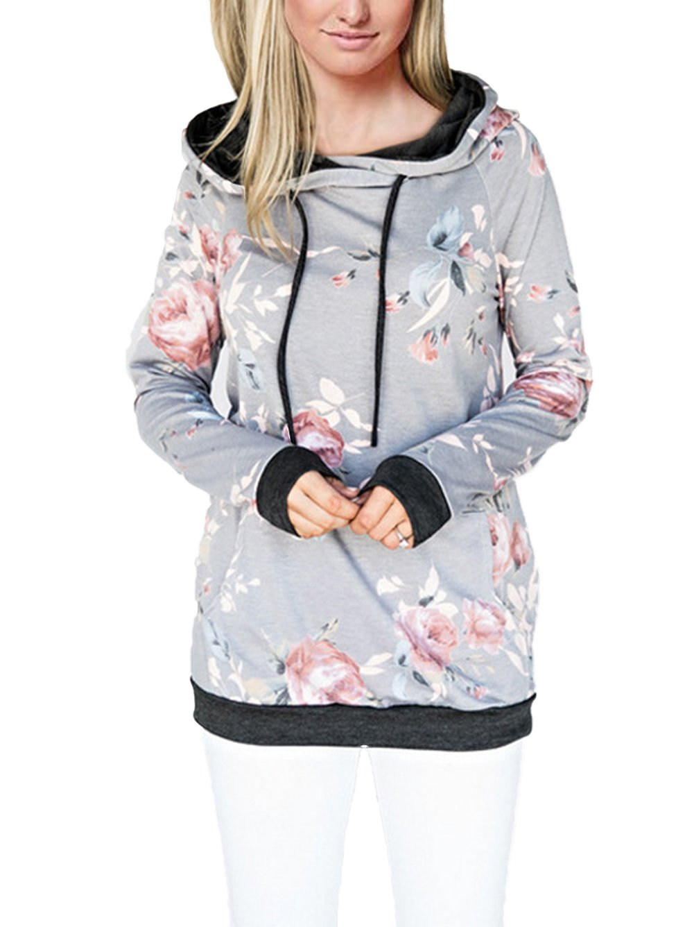 Famulily Women's Floral Hoodie Casual Long Sleeve Winter Pullover Sweater(Grey3,Medium)