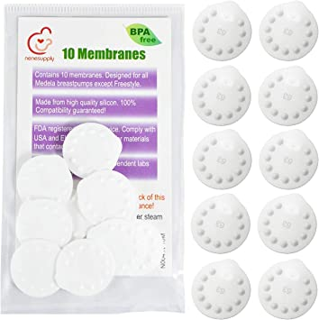 Can Be Sanitized with Medela Micr-Steam Bag Pump In Style, Swing, Lactina, Symphony, Mini Electric, and Harmony NeneSupply 10 Count Membranes for Medela Breastpumps Replaces Medela Membrane 10 Designed to use with Medela Valves and NeneSupply Valves