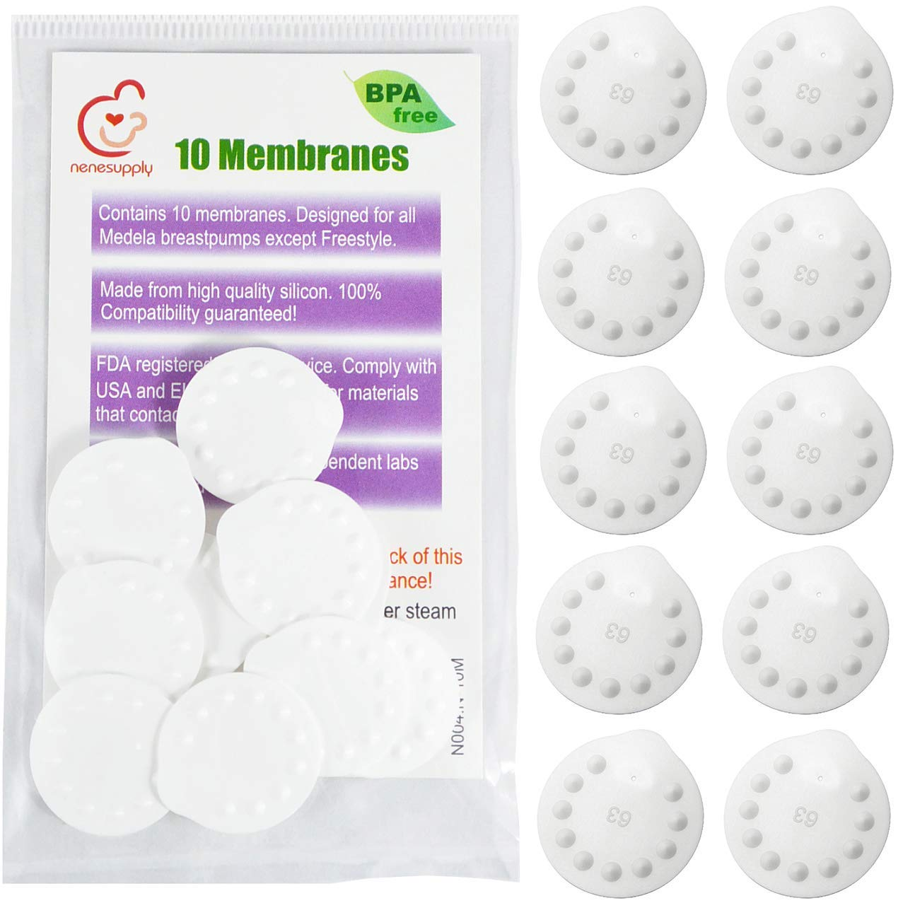 Nenesupply10 Count Membranes Compatible with Medela Pump Parts Use with Nenesupply Valve and Medela Valve Replace Medela Membrane Compatible with Pump in Style Swing Symphony Harmony Breast Pump