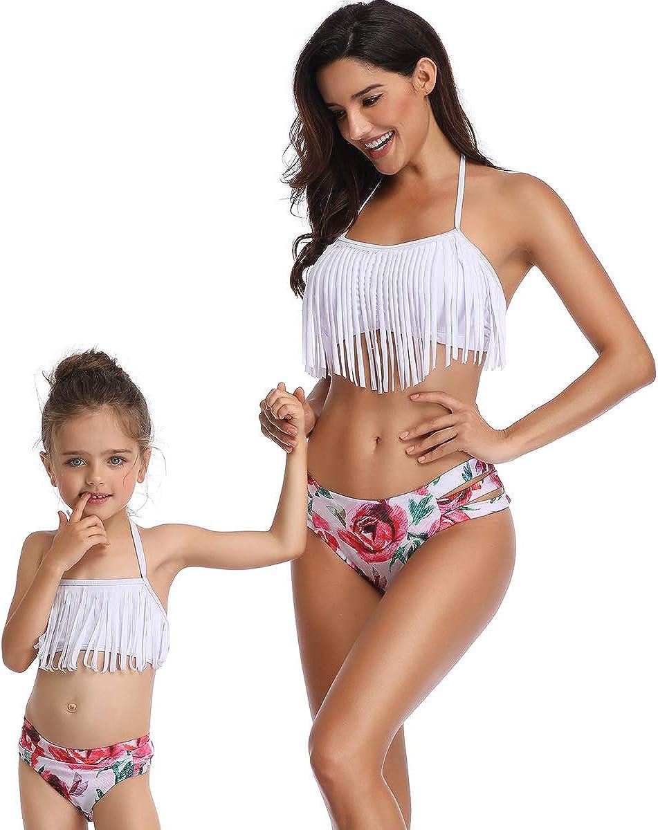 2Pcs Mommy and Me Matching Family Swimsuit Girls Women Flounce Bathing Suit Bikini Sets Beachwear Sets