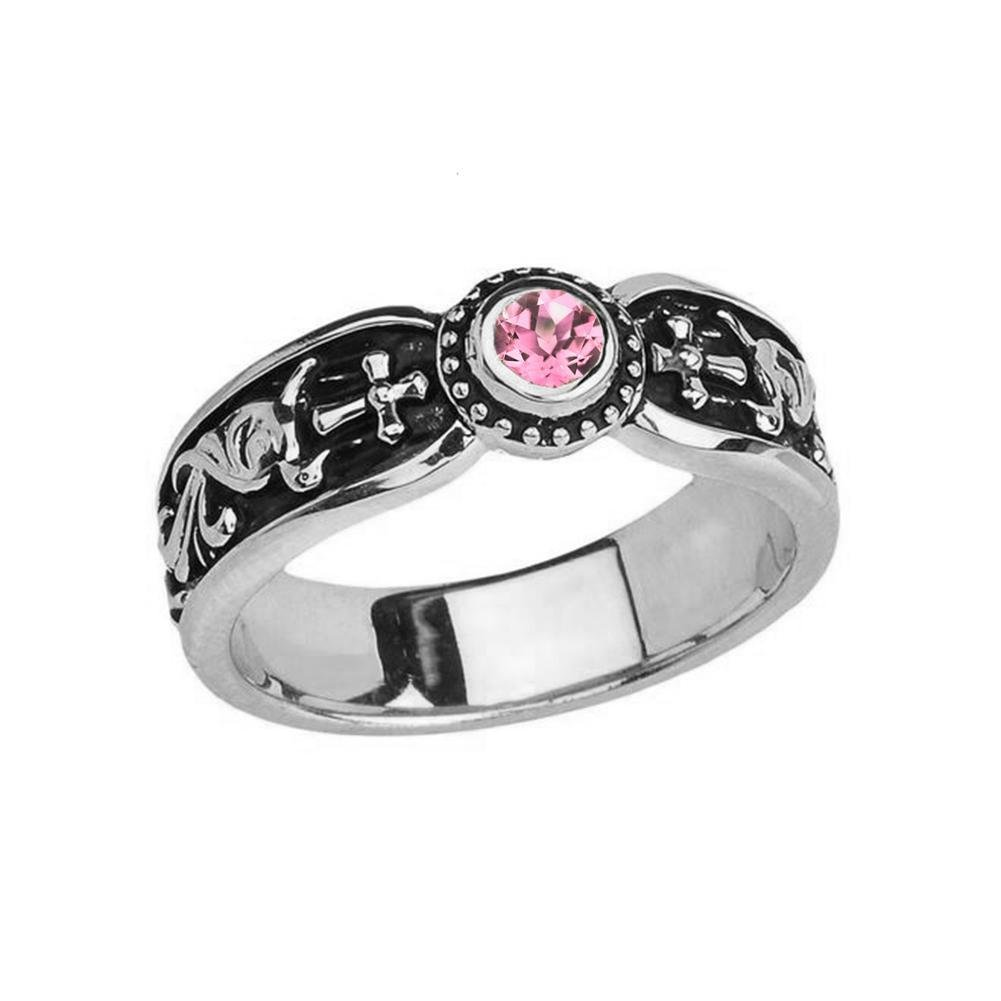 Fine 14k White Gold Pink CZ Solitaire Vintage Sideway Cross Wedding Band (Size 11.5)