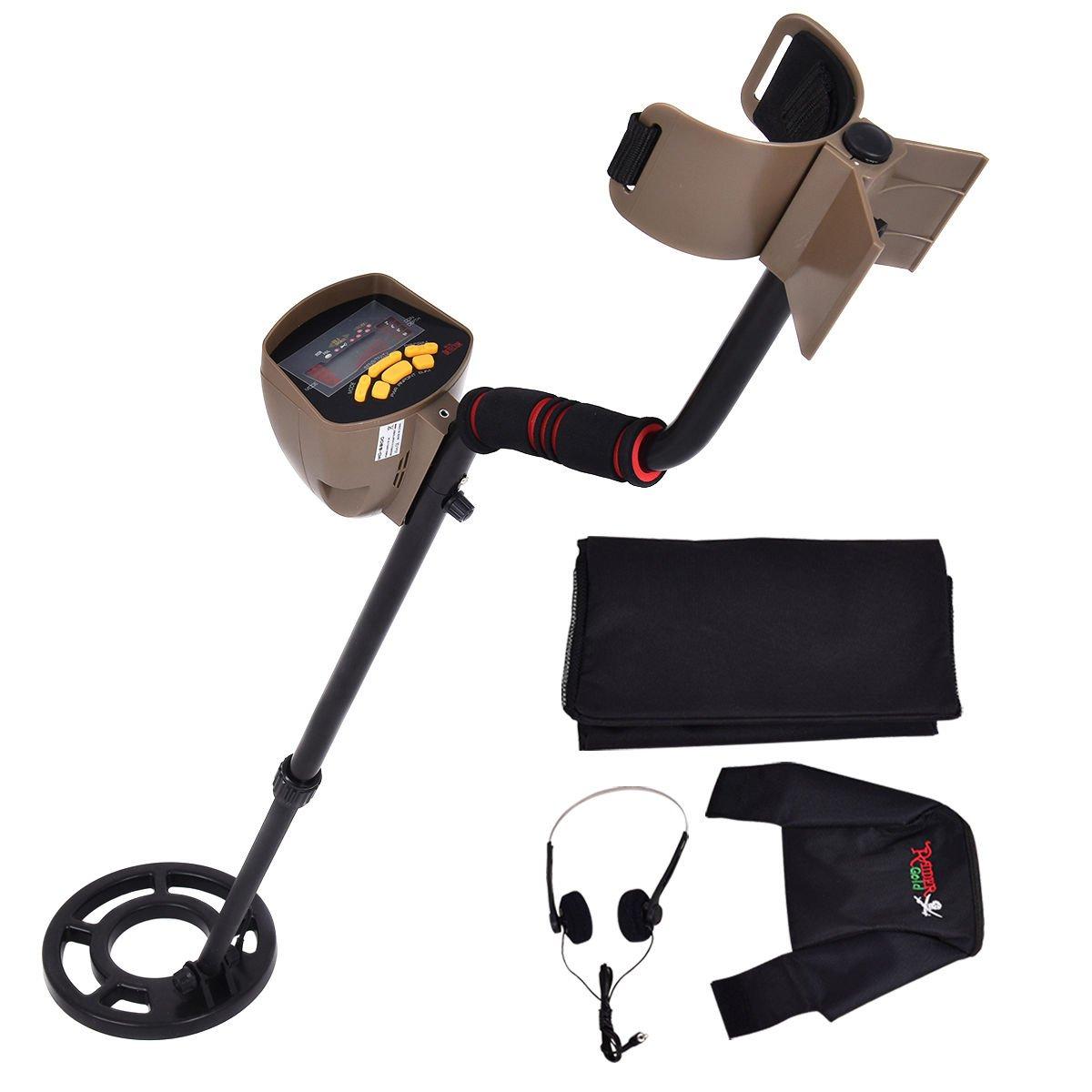 Goplus Metal Detector Waterproof Coil Underground 8.3'' Deep Sensitivity Gold Search 5 Modes w/ Headphone & Backpack MD-6300