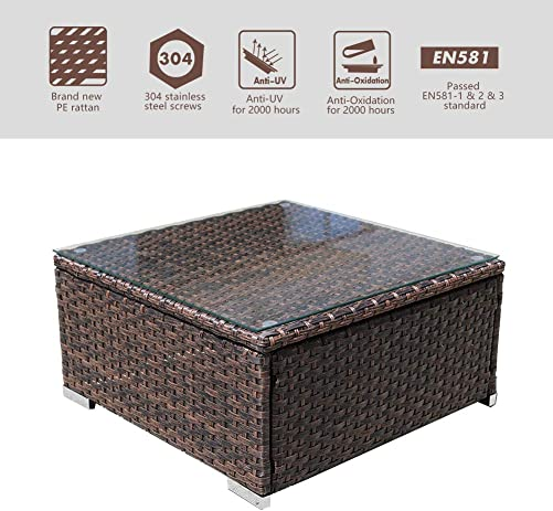 DIMAR garden Outdoor Coffee Table Wicker Patio Furniture Conversation Set Lawn Garden Tea Table Rattan Patio Coffee Tables with Glass Top Mix Brown