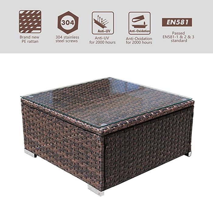DIMAR garden 1 Piece Outdoor Coffee Table Rattan Patio Furniture Wicker Coffee Table Sectional Coffee Table Lawn Garden Pool Tea Table Backyard Outdoor Patio Coffee Table with Glass (Mix Brown 64CM)