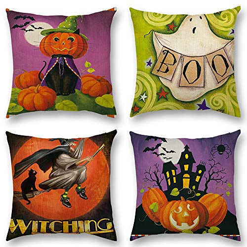 Shenermay 4Pcs Happy Halloween Square Decorative Pillow Covers Cartoon Linen Throw Pillow Cover Cases Burlap Cushion Cover for Sofa with Little Pumpkin Witch Say Boo 18x18 inch -