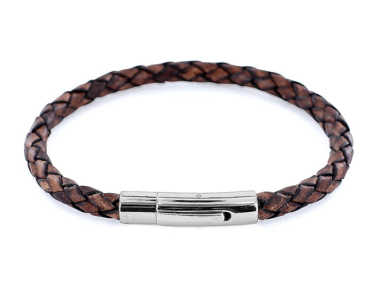 AURORIS Echtleder-Armband geflochten 5mm mit Hebeldruckverschluss aus Edelstahl Farbe: antik-braun 4250995619374