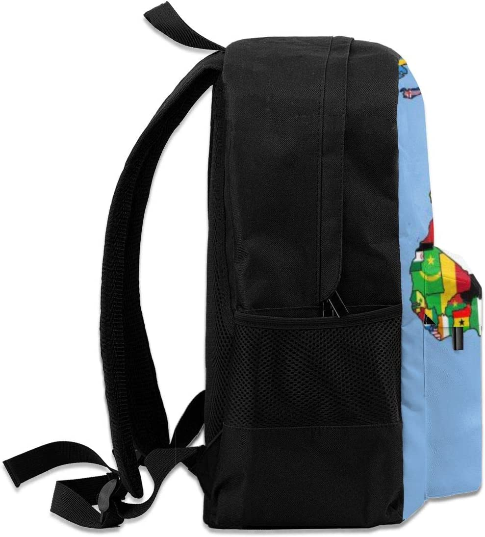 16.5 Lightweight Durable School Bags Bookbag Backpacks For Kids Teen,Flag Of Watercolor Print World Map College School Book Shoulder Bag Travel Daypack For Boys Girls Man Woman