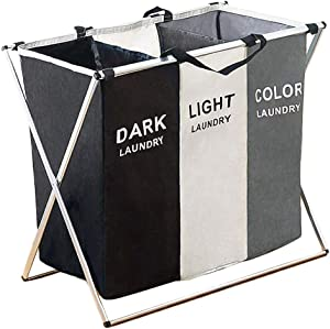 BENOSS Laundry Hamper 3 Section Collapsible Waterproof Laundry Sorter Cart with Foldable Aluminum X-Frame and Handle, 26 x 24 x 15 inch
