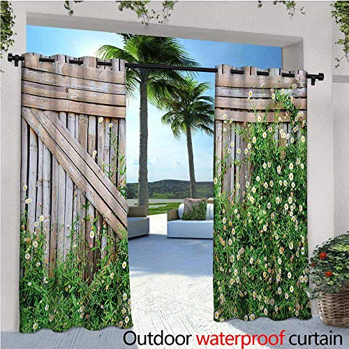 Farmland Outdoor- Free Standing Outdoor Privacy Curtain Bamboo Fence Covered by Ivy Daisy Flower Blooms Chamomile Petals Picture for Front Porch Covered Patio Gazebo Dock Beach Home W84 x L96 Green