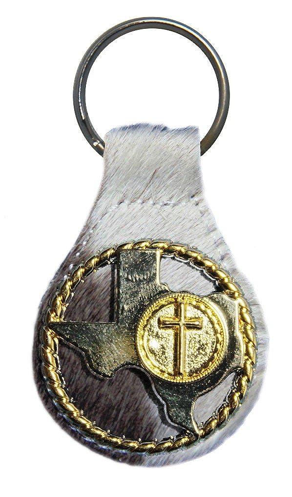 Amazon.com: Texas cuerda y Cruz piel llavero o llavero, L ...