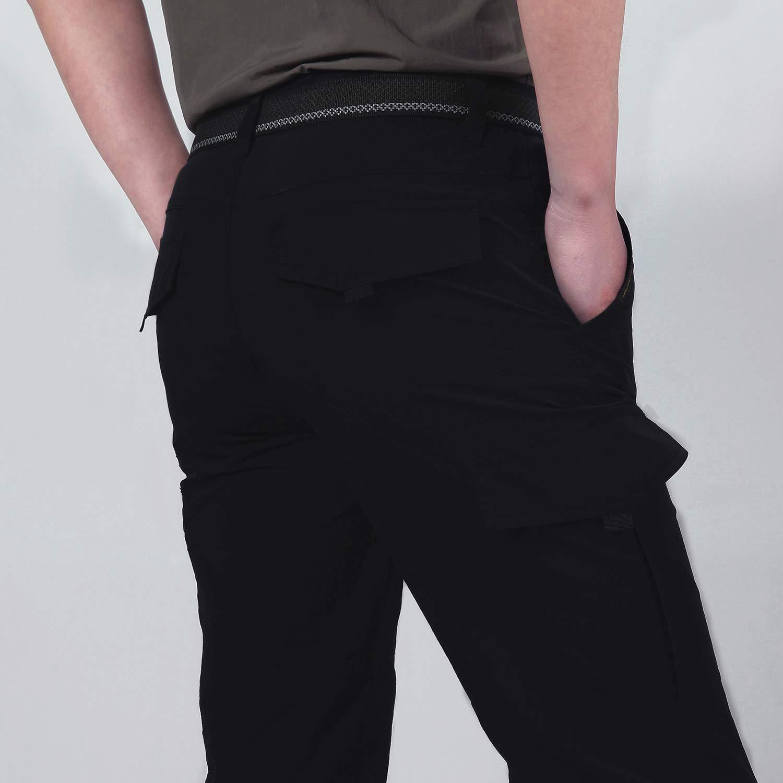 BMEIG Pantalon de Trekking pour Hommes Multi Poches L/éger /Ét/é Pantalons S/échage Rapide Coupe-Vent Taille /élastiqu/ée Ext/érieur Respirant pour la randonn/ée Randonn/ée Alpinisme