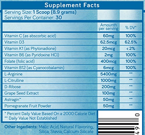 L-Arginine Powder 5400mg — Premium Nitric Oxide Powder — Supports Blood Pressure & Cholesterol — Mixed Berry Flavor - Promotes Natural Energy & Cardiovascular Health - (9.4 oz) by Purethentic Naturals (Image #6)
