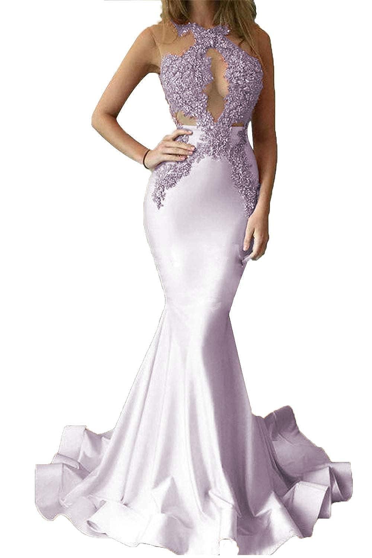 Lavender Promworld Women's Beaded Lace Applique Keyhole Mermaid Formal Dress Illusion Prom Dress