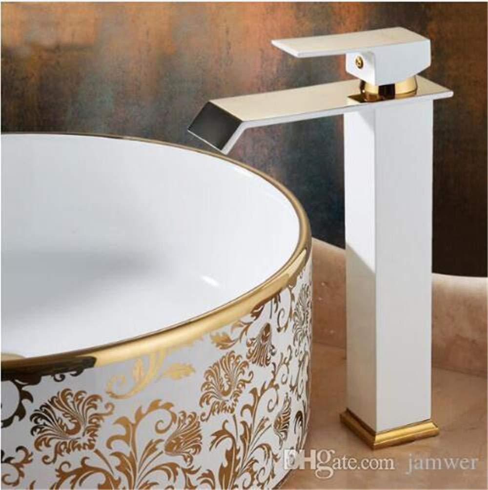 Decorry Neue Ankünfte Gold-Und weiße Farbe Wasserfall-Hahn-Hoch Badezimmer-Hahn-Badezimmer-Bassin-Mischer-Hahn-Heiß Und Kalte Wasch- Oder Spülbecken B