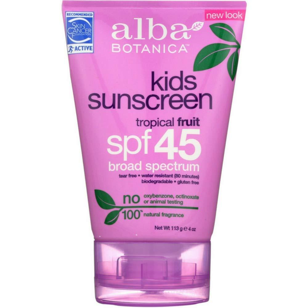 Alba Botanica Kids Sunscreen SPF 45, Tropical Fruit, 4 oz (Pack of 12)