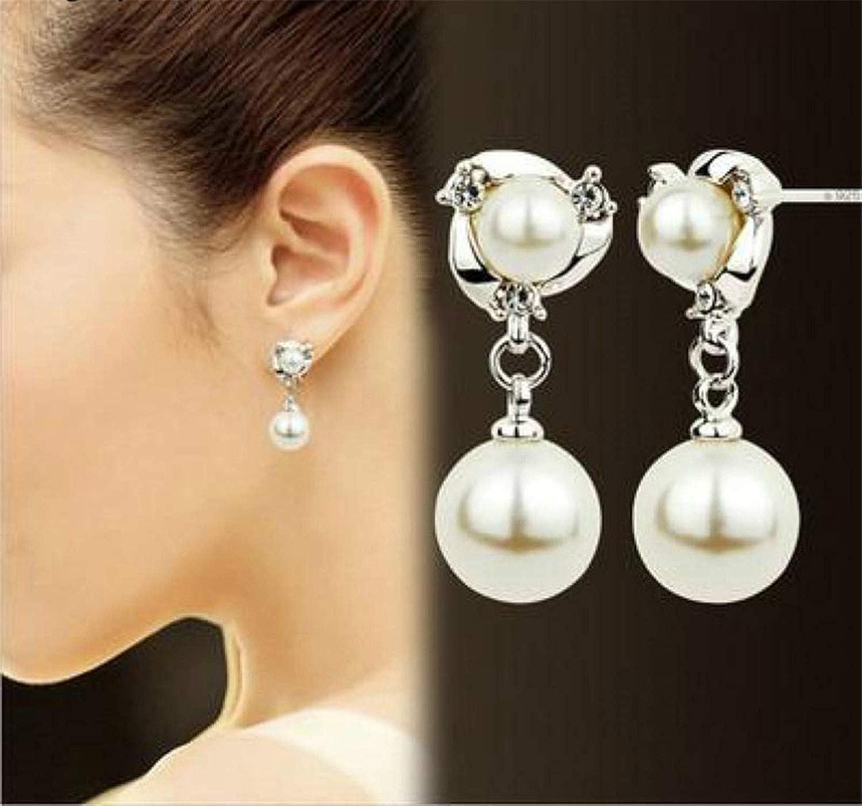 New Personality Crystal Earrings Wild Rhinestones Imitation Pearl Earrings For Women Stud Earrings