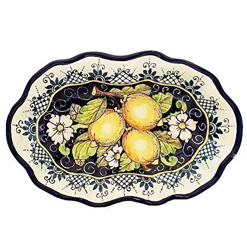CERAMICHE D'ARTE PARRINI - Italian Ceramic Art Pottery Serving Bowl Centerpieces Tray Plate Hand Painted Decorative Lemons Made in ITALY (Pottery Serving Plate)