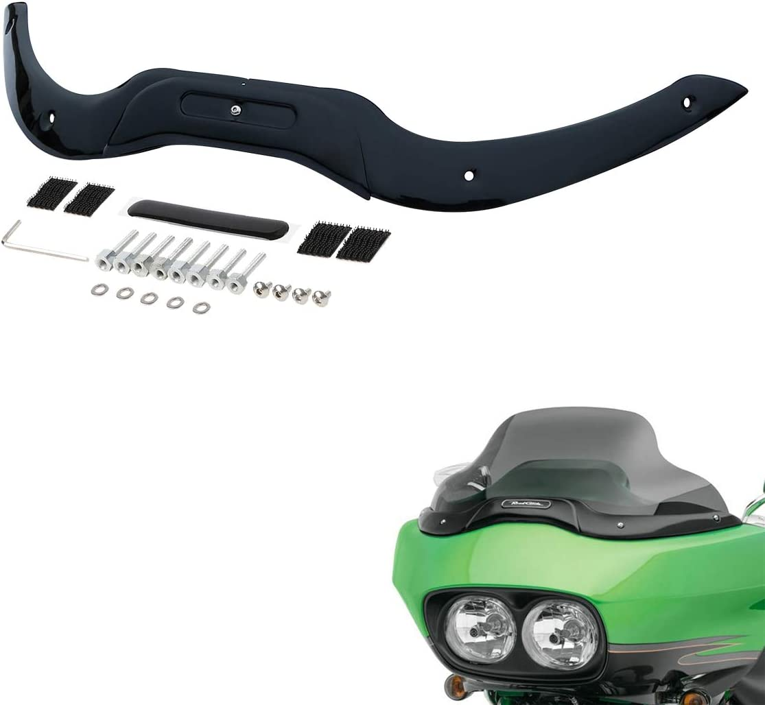 Made of Iron,Black XMT-MOTO Windshield Windscreen Trim fits for Harley-Davidson Touring Road Glide models 2004-2013