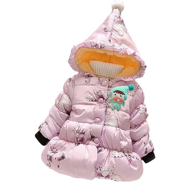 LOSORN ZPY Los niños niñas Abrigo. Otoño Invierno Kids Pattern Abrigo bebé niñas niños de Ropa Gruesa Caliente Graffiti Chaqueta Outfi Color Rosa y Blanco: ...