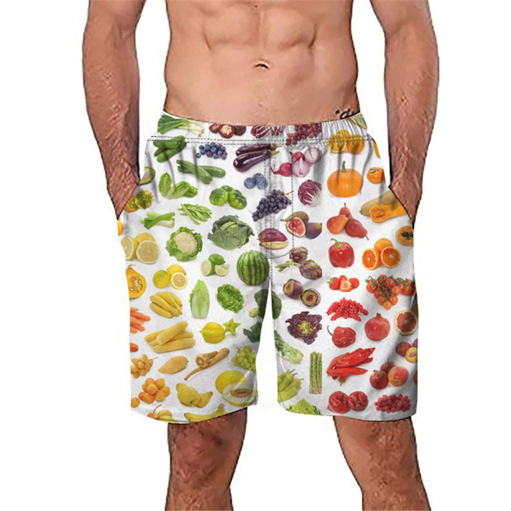 NUWFOR Men Casual 3D Graffiti Printed Beach Work Casual Men Short Trouser Shorts Pants(Multicolor,US:S Waist27.6-31.5'')